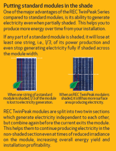 REC TwinPeak solar module shading diagram