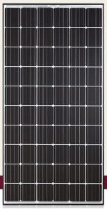 Sleek looking panel from Hanwha with 60 monocrystalling cells, a black frame on white backsheet