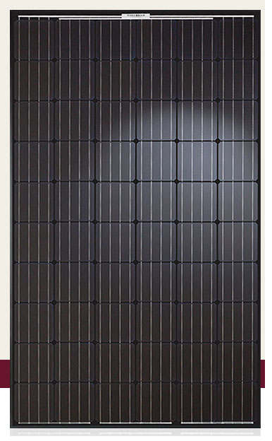 Q.Peak BLK-G4.1 solar panel from Hanwha with black frame and backing, monocrystalline