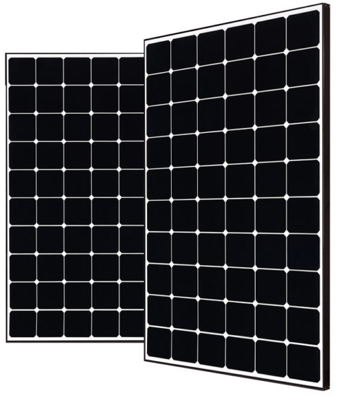LG350Q1C solar modules with black frame on white backsheet. High quality mono N-type panel