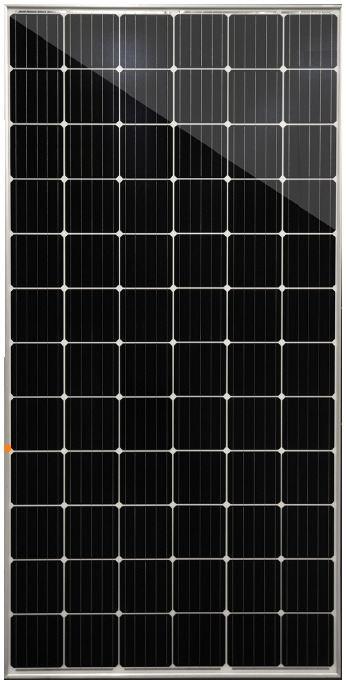 72 cell solar panel with clear frame and backing and 375 watts power